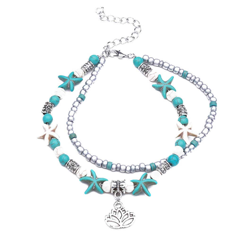Myhouse Multi-Layered Starfish Pearl Crystal Beads Foot Chain Sandal Beach Barefoot Anklet for Women Girls, Starfish Lotus