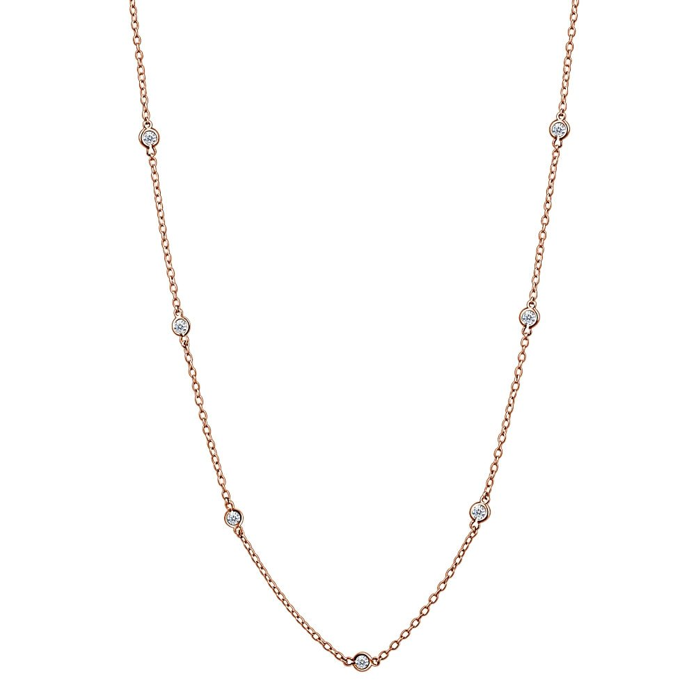 8d8b4cd5c0142 GemStar USA Sterling Silver Cubic Zirconia Station Dainty Chain Necklace,  16-24 Inches