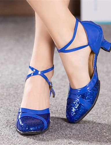 Red Gold Shoes Silver Leather Chunky Dance Pink Blue Patent Latin Heel Women's ShangYi Blue q4vwgUAW