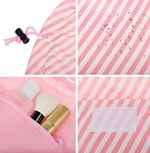 Drawstring Cosmetic Bag Travel Lazy Makeup Storage Bag Toiletry Bags Portable&Waterproof Quick Pack Large Cosmetic Bag Dual Magic Bags with Zipper&Drawstrings (Pink Stripe) by OTHEWELL (Image #3)