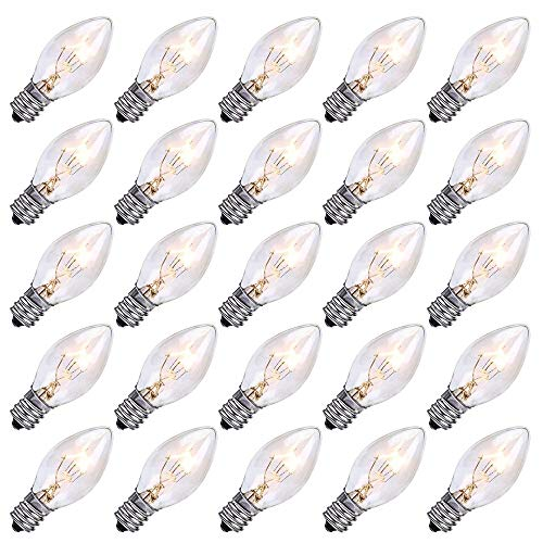 25 Pack C7 Incandescent Bulb, C7 Replacement Bulb for Christmas String Light, C7/E12 Candelabra Base, 5 Watt, Clear (C7 Clear Candelabra)