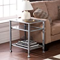 Upton Home Silver Metal & Glass End Table. Great For Living Room or Office Furniture. Add To Your Glass Coffee Table, Sofa Tables, or Console Tables. Could Be Used As Patio Furniture As Well. Dimensions: 24.0 in. H x 16.45 in. W x 20.45 in. L