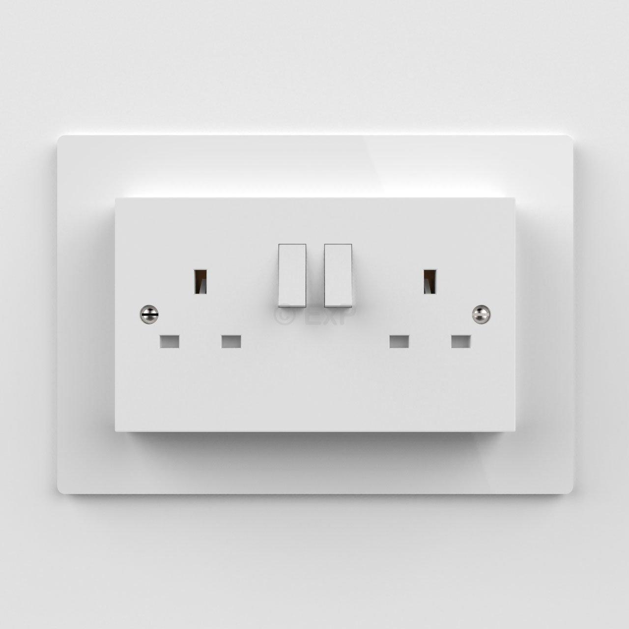 Double Light Switch or Plug Socket Back Plate Finger Surround Panel ...