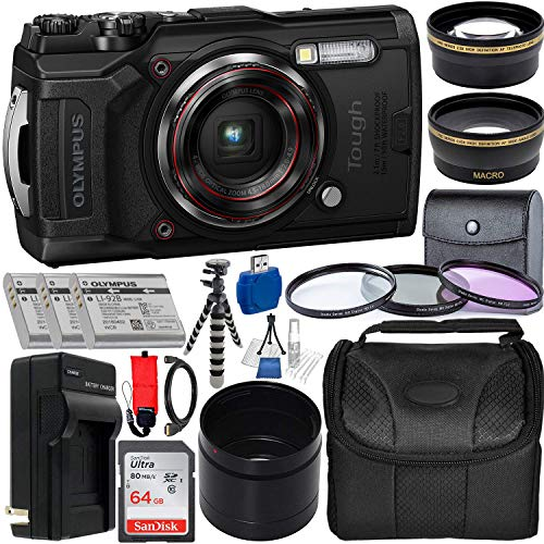 Olympus Tough TG-6 Digital Camera with Deluxe Accessory Bundle - Includes: SanDisk Ultra 64GB SDXC Memory Card + 2X Spare Batteries with Charger + Flexible Gripster + Adapter Tube + More (Black) (Waterproof Digital Camera Olympus)