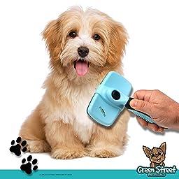 Best Dog Grooming Slicker Brush Self Cleaning Dog & Cat Brush for Long & Short Hair Shedding by Green Street Pet Basics