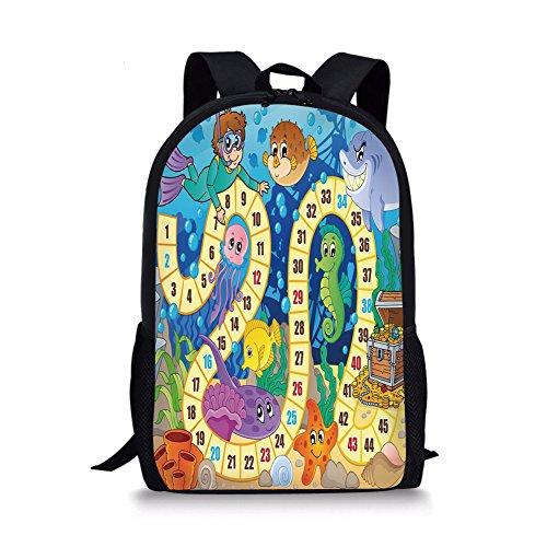 "Board Game 12"" Baby Toddler Kids 3D Print Canvas Backpack,Underwater Wildlife Oceanic Game Image Animals Seashells Tresure Pirate Ship Art Schoolbag Shoulder Bag for Kindergarten Multicolor"