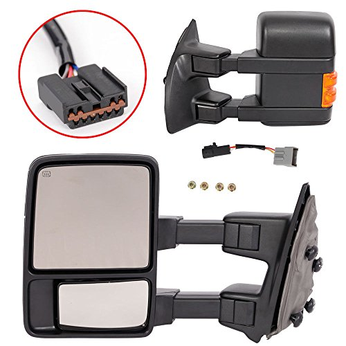 Upgrade Ford Towing Mirrors for 99-07 Ford F250 F350 F450 F550 Super Duty Tow Mirrors Power Heated with Signal Light Both Driver and Passenger Side - Duty Driver Mirror Lh Super