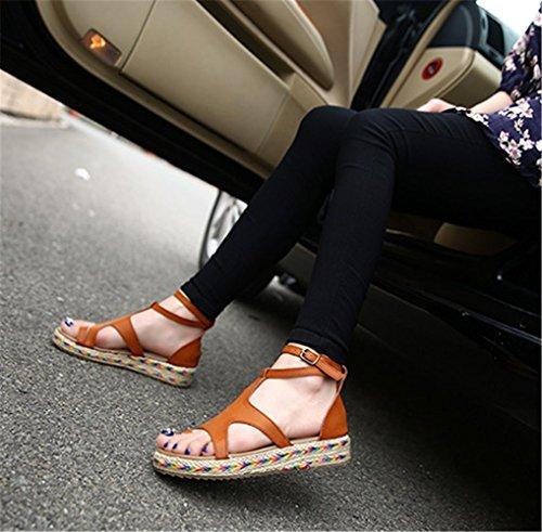 Sandales Plateforme Chaussures Ville Femmes mogeek Marron Plats Cheville Tongs de Été Bride U1nHWaWS