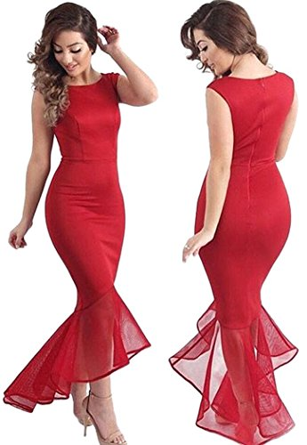 YeeATZ Women Sexy Tulle Fishtail Sleeveless Long Party Dress(Red,M) - Cheapest Mermaid Tails