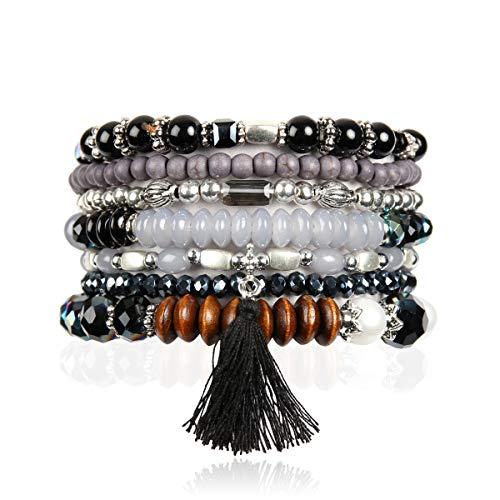 RIAH FASHION Bohemian Multi-Layer Sparkly Crystal Bead Statement Bracelet - Versatile Stretch Strand Delicate Stackable Cuff Bangle Set Tassel Charm (Boho Wood Mix - Black)
