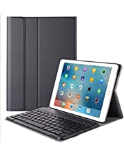 10.2 inch Keyboard Case, Folding Leather Stand Smart Shell Impact Resistance Back Cover Slim Durable Detachable Removable Wireless Bluetooth Keyboard For Apple iPad 7 10.2 inch