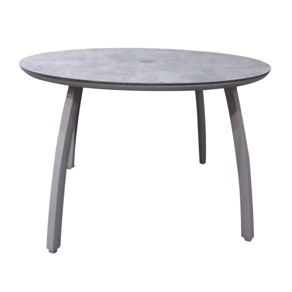 Grosfillex US42C289 Sunset Outdoor Table, 42'' Round Table with Concrete Color Top & Platinum Gray Base by GROSFILLEX INC