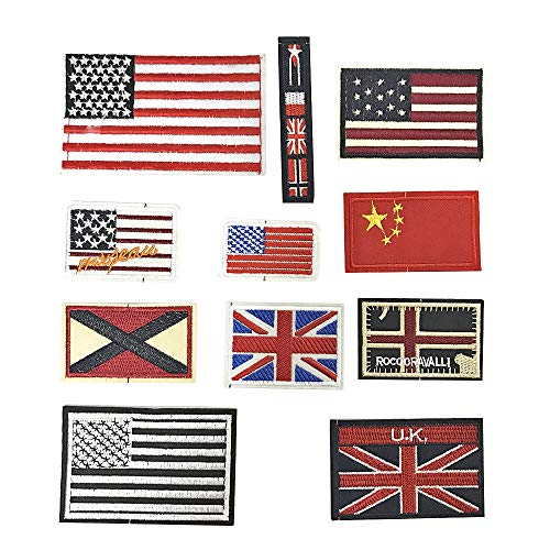 Daimay 11 PCS Iron on Patches Embroidered Appliques National Flag Embroidered Patch Stickers for Decorating Clothing, Backpack, Caps, Jeans, Shoes, Jacket, Handbag ()