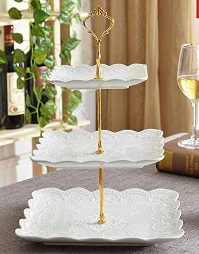 10' Plate Stand - Bone China Ceramic Cake Plates Stand Porcelain Cheese Service Plates Cupcake Stand Xmas Gift Party Porcelain Tea Coffee Cup (3 Tires square with gold stand)
