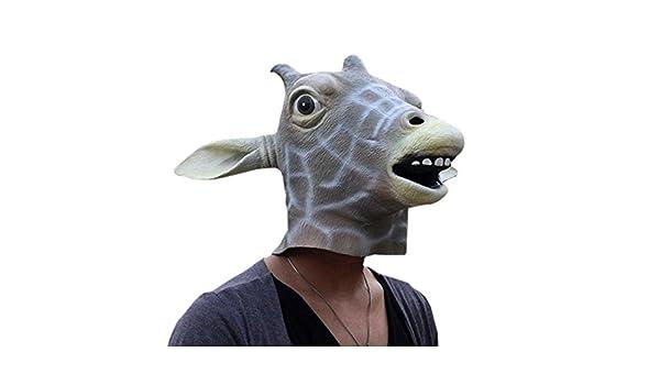 funnytoday disfraz de Halloween Prop jirafa cabeza máscara de goma ...