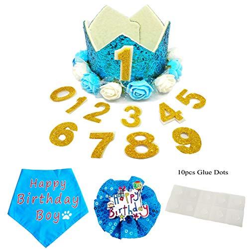 PET SHOW Blue Crown Dog Birthday Hat Bandana Collar Bows Charms Costume Set Reusable Birthday Party Headband Puppies Cat…