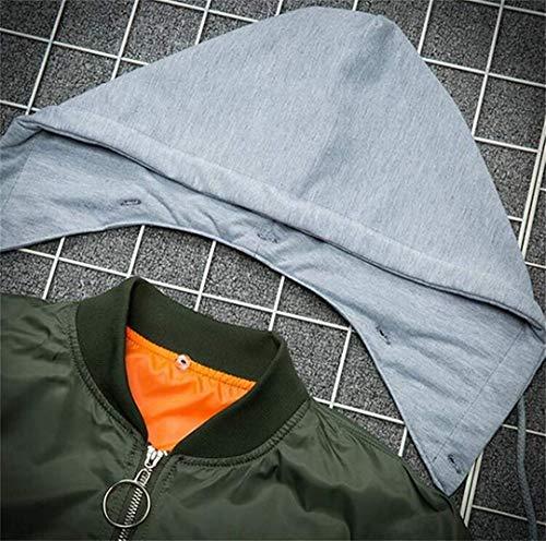 Desmontable La Medium Capucha Negro Bordan Chaqueta Hombres Las Verde Moda color Ejercito De Bombardero Alas Tamaño Fuweiencore Los Con aBR70wq