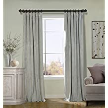 COFTY Silver Grey 100Wx108L Inch (1 Panel-doublewide ) Solid Matt Luxury Heavyweight Velvet Curtain Drape with Blackout Thermal Lining - Flat Hooks Heading for Track