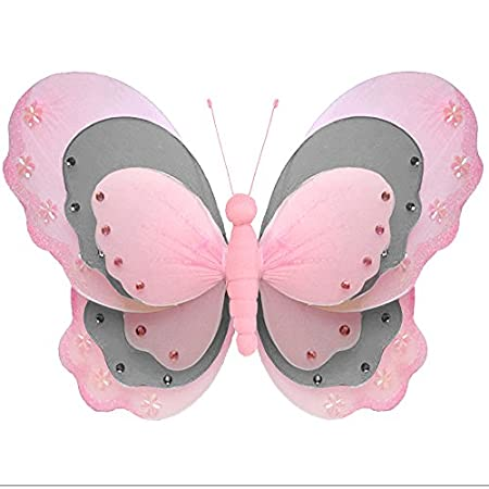 Hanging Butterfly Medium 10 Pink Gray Grey Triple Layered Mesh Nylon Butterflies Decorations Decorate Baby Nursery Bedroom Girls Room Ceiling Wall Decor Wedding Birthday Party Baby Shower Child Art Bugs-n-Blooms