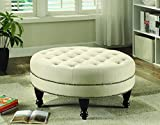 Cheap Round Cocktail Ottoman Oatmeal