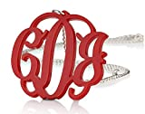 "Acrylic 1.6"" Monogram Necklace - Custom Made with Silver Chain-Any Color (20 Inches)"