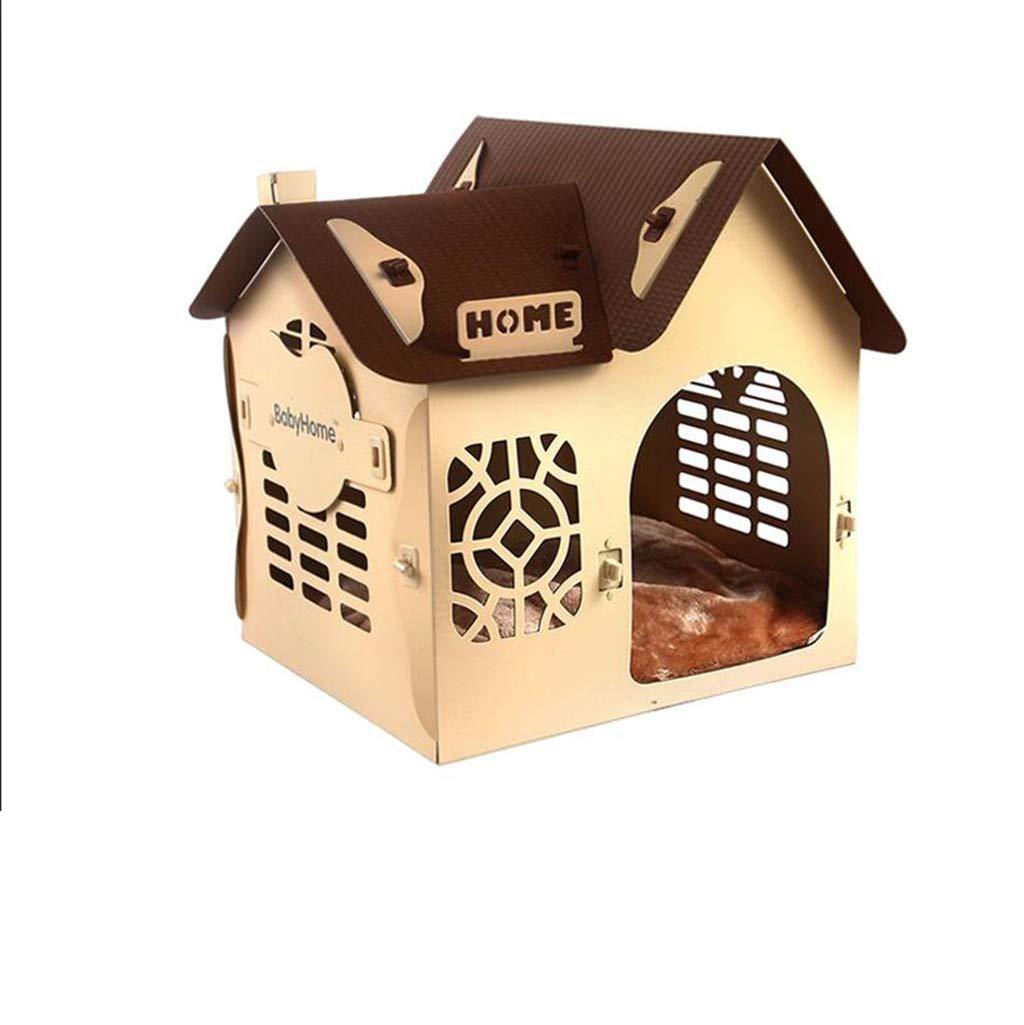 JUEJIDP Canile di plastica Cane Cane lettiera Villa Quattro Stagioni Universale Rimovibile Lavabile Cane Cane casa (colore   Beige)
