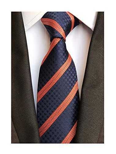 Fashion Navy Blue Orange Ties Unique Designs Wedding Neckties for Men Collection