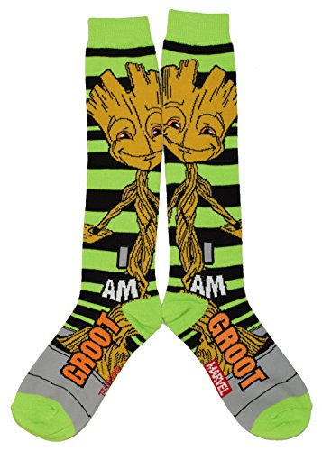 Marvel Guardians of The Galaxy I Am Groot Calf High Socks