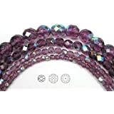 10mm (41) Amethyst AB coated, Czech Fire Polished Round Faceted Glass Beads, 16 inch strand