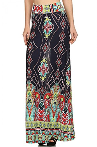 ColorMC Women's Plus Size Women's Floral Circle Print Long Maxi Knit Skirt XL NavyRed