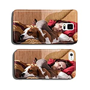 sleeping woman and its dog cell phone cover case iPhone5