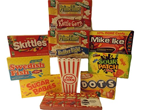 Movie Night Couple Popcorn and Candy Gift Bundle - 10 Items: 2 Popcorn Tubs, Primetime Premium Kettle Corn and Butter Light Popcorn and Various Soft Chewy Movie Candies to Share