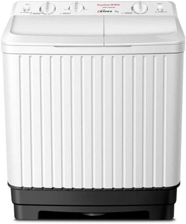 LSYOA Lavadora, Mini Semi-Automatic Doble Tina Centrifugadora 15lbs Lavado & Centrifugado Lavadora Carga Frontal Multifuncional Compacta Electrico Secadora,White