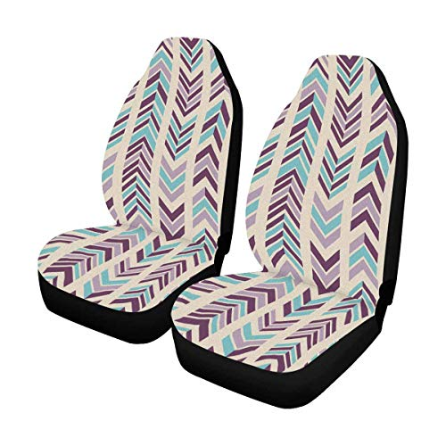 (INTERESTPRINT Abstract Modern Chevron in Bright Colors Front Car Seat Covers Set of 2, Universal fit for Vehicle, Cars, Sedan, Truck, SUV, Van)