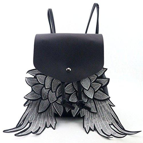 Price comparison product image Coohole 2017 Fashion Women Wing Drawstring Travel Satchel School Bag Backpack Bag (black)