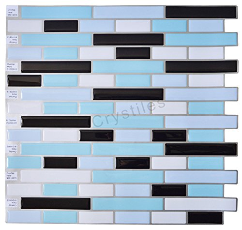 "Crystiles Peel and Stick Self-Adhesive DIY Backsplash Stick-on Vinyl Wall Tiles for Kitchen and Bathroom Décor Projects, Item# 91010813, 10"" X 10"" Each, 6 Sheets Pack ()"