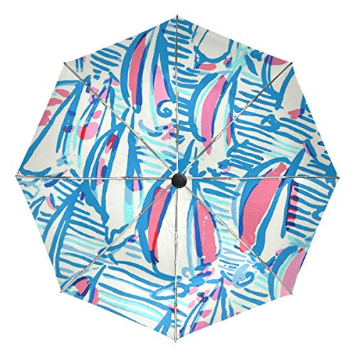 Travel Umbrella Windproof, Lilly Pulitzer Black Glue Anti UV Coating, Compact Folding Umbrellas Auto Open Close,for Women Men