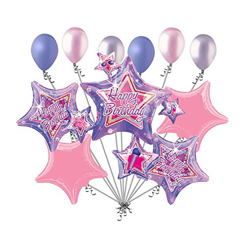 11 pc Rock Star Cluster Happy Birthday Party Balloon Bouquet Music Notes Sing for $<!--$12.99-->