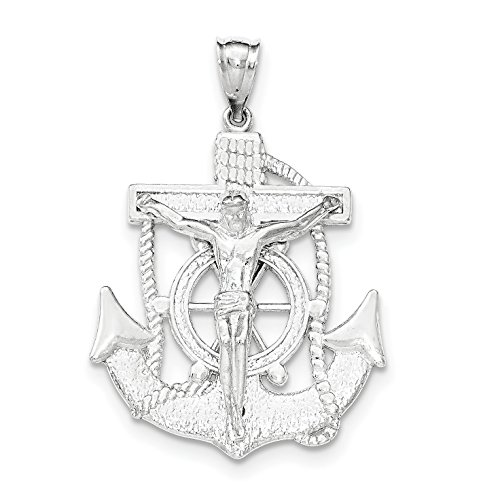 Rose Sterling Silver Crucifix - Sterling Silver Polished Mariner Crucifix Pendant