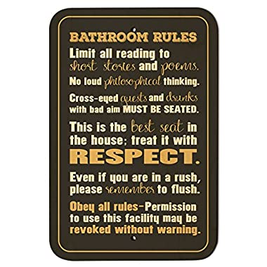Bathroom Rules Silly 9  x 6  Wood Sign