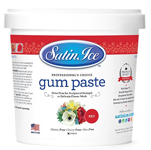 Satin Ice Red Gum Paste, Vanilla, 2 Pound