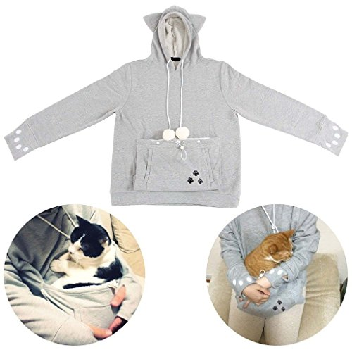 Kangaroo Pullover Pet Holder Sweater Hoodies Cat Eared Long sleeves Sweatshir ()