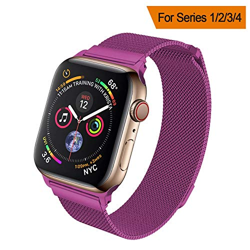 HILIMNY Compatible for Apple Watch Band 38mm 40mm 42mm 44mm, Stainless Steel Mesh Milanese Sport Wristband Loop with Adjustable Magnet Clasp for iWatch Series 1/2/3/4,Purple