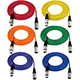 GLS Audio 12ft Mic Cable Patch Cords - XLR Male to XLR Female Colored Cables - 12' Balanced Mike Cord - 6 PACK