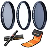 62MM Filter Kit,K&F Concept 62mm UV CPL ND4 Lens Filter Set UV Filter UV Protector Circular Polarising Filter CPL Filter ND Filter Neutral Density Filter Kit + Cleaning Pen + Filter Bag Pouch