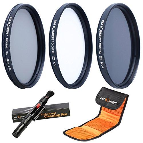 K&F Concept 67MM UV CPL ND4 + Pluma de Limpieza + Estuche para 3 Filtros, Kit de Filtro 67MM Filtros UltrvioletaFiltro Polarizador Filtro de Densidad Neutra
