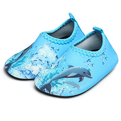 JIASUQI Fashion Outdoor Sports Water Aqua Skin Water Shoes Casual Beach Sandals for Baby,Blue Dophin 12-18 Months
