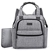BRINCH Multi-function Lightweight Baby Diaper Bag Backpack Handbag Organizer with Changing Pad,Stroller Straps & Insulated Pocket for Mom and Dad,Grey