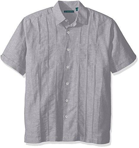 Cubavera Men's Short Sleeve Linen-Blend Shirt with Two Top Pockets and Pleats, Sleet, Large ()