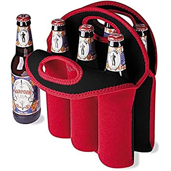 Touchshop Wine/Water Bottle Tote Insulated Neopreane 6 Pack Bottle Carrier Bag with Secure Carry Handle(Red)